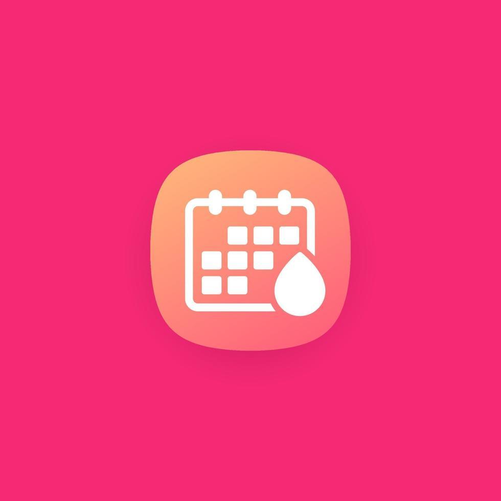 calendário de menstruação, ícone de vetor para app.eps