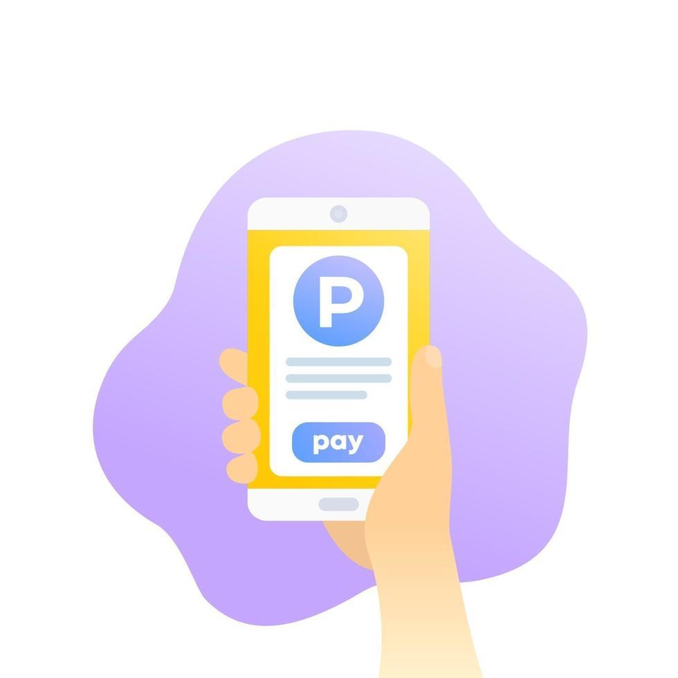 estacionamento pago com aplicativo móvel, telefone na mão, vetor icon.eps