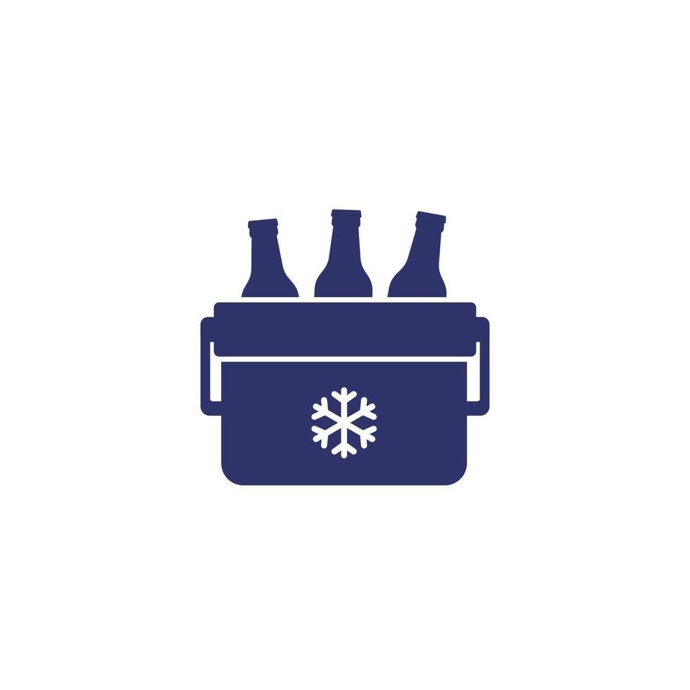 refrigerador portátil com ícone de vetor de cerveja em white.eps