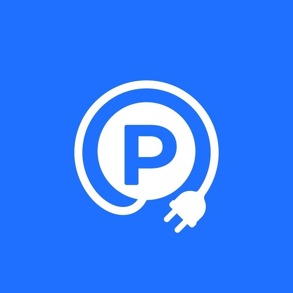 estacionamento e estação de carregamento para carros elétricos vetor icon.eps