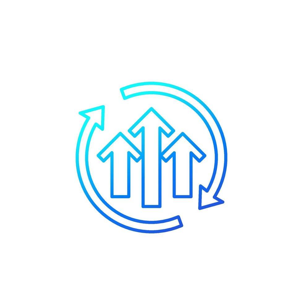 ícone do ciclo de crescimento, linha vector.eps vetor