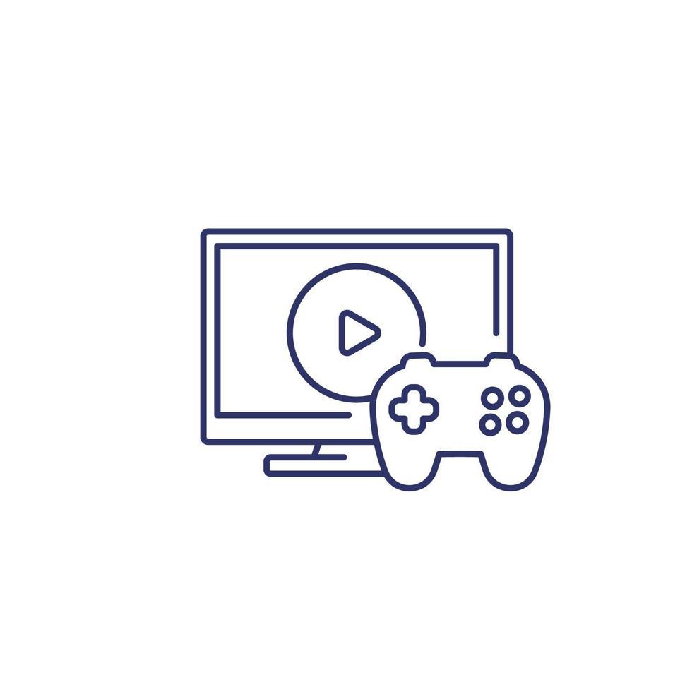 ícone de videogame com gamepad e tv, line.eps vetor