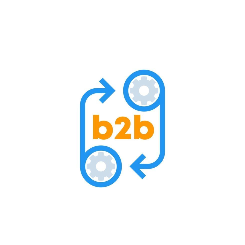 ícone b2b com rodas dentadas, vector.eps vetor