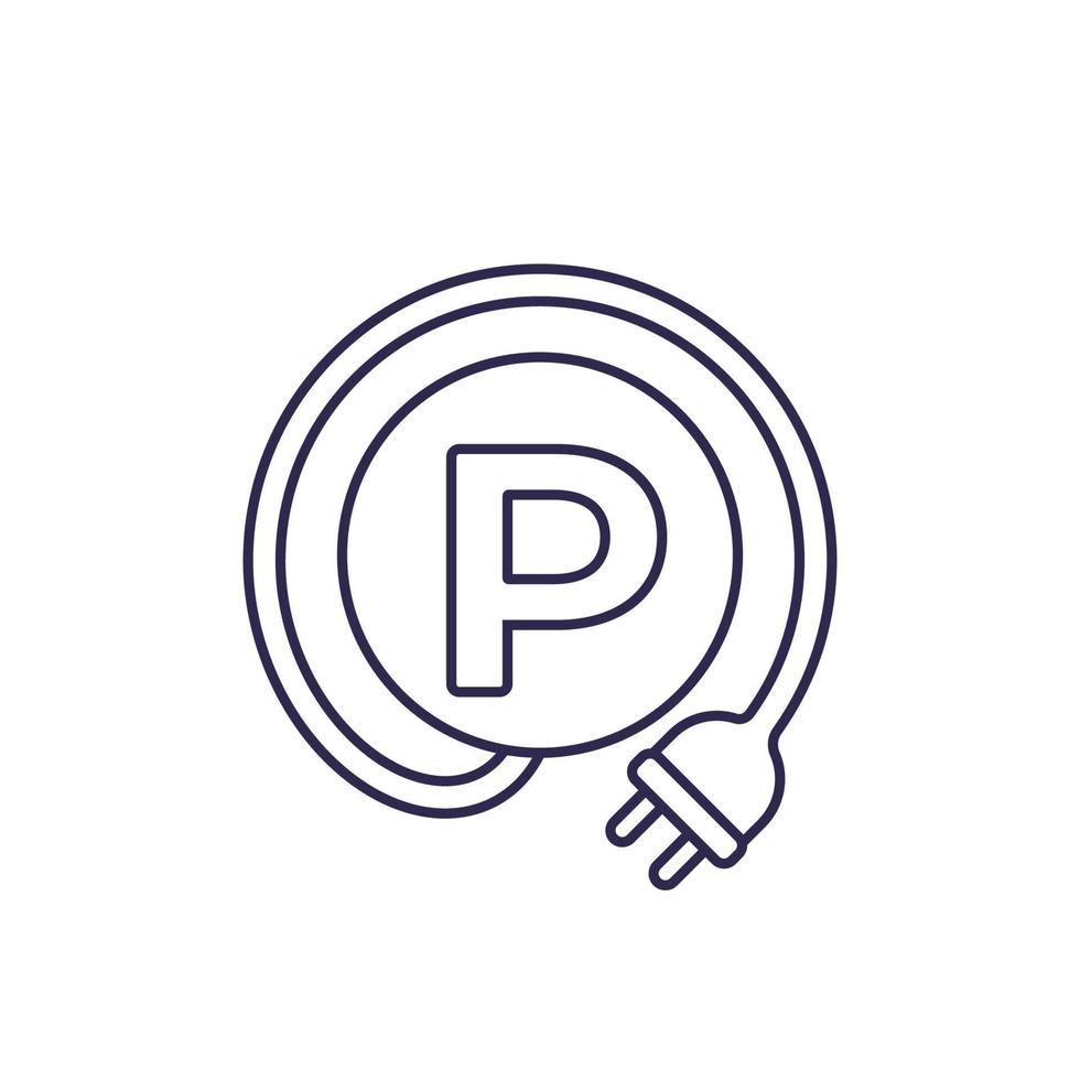 estacionamento e estação de carregamento para carros elétricos linha icon.eps vetor