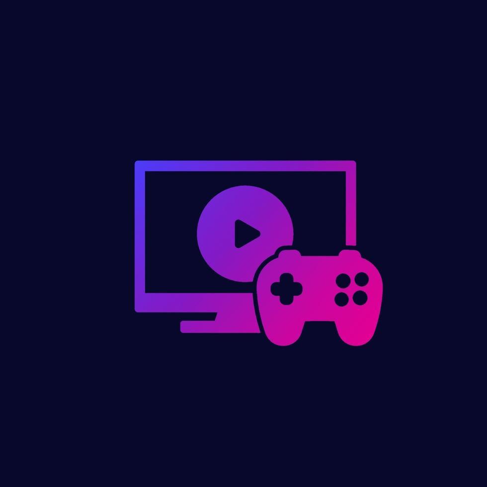 ícone de videogame com tv e gamepad.eps vetor