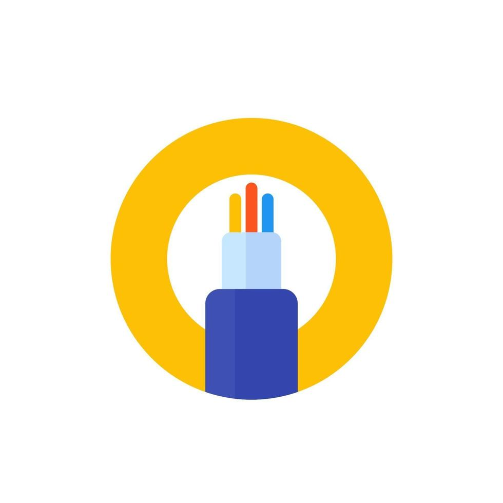 ícone de vetor de cabo de fibra óptica, flat.eps