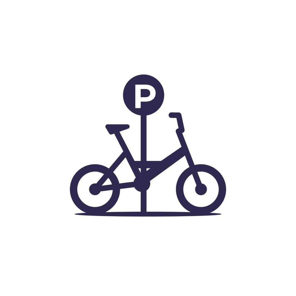 ícone de área de estacionamento de bicicletas em white.eps vetor