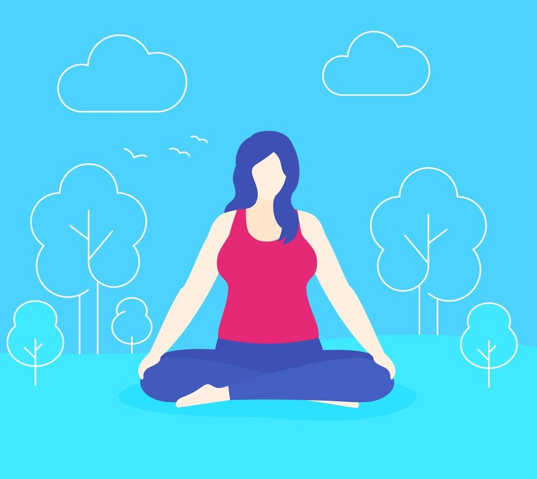 ioga, mulher de tamanho grande medita no parque, vector.eps vetor