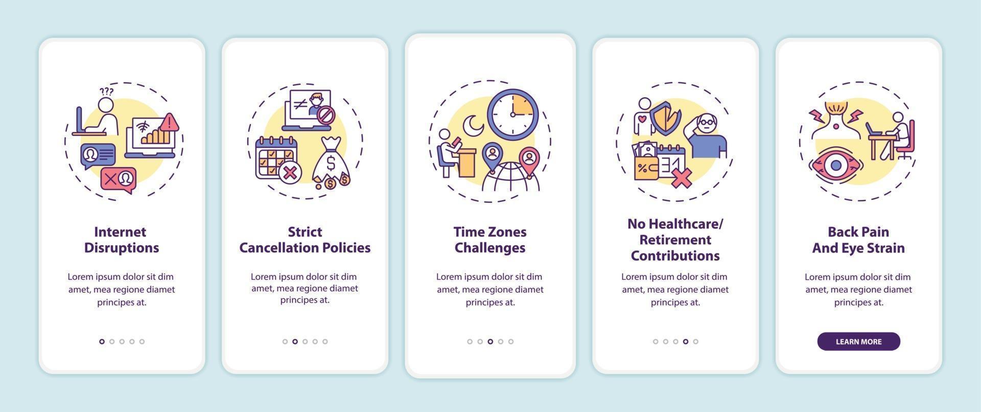 Desafios de ensino de inglês online na tela da página do aplicativo móvel com conceitos vetor