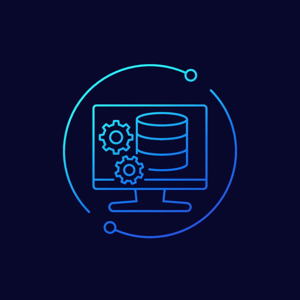 ícone de manutenção de banco de dados, linear design.eps vetor