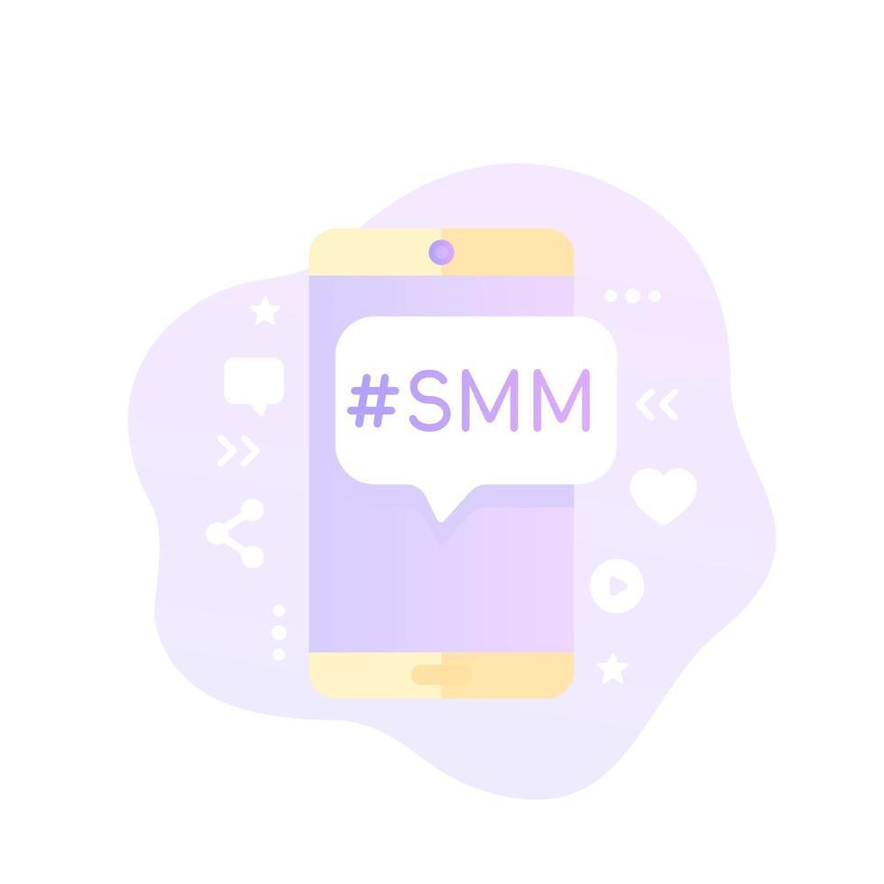 ícone do vetor smm com phone.eps