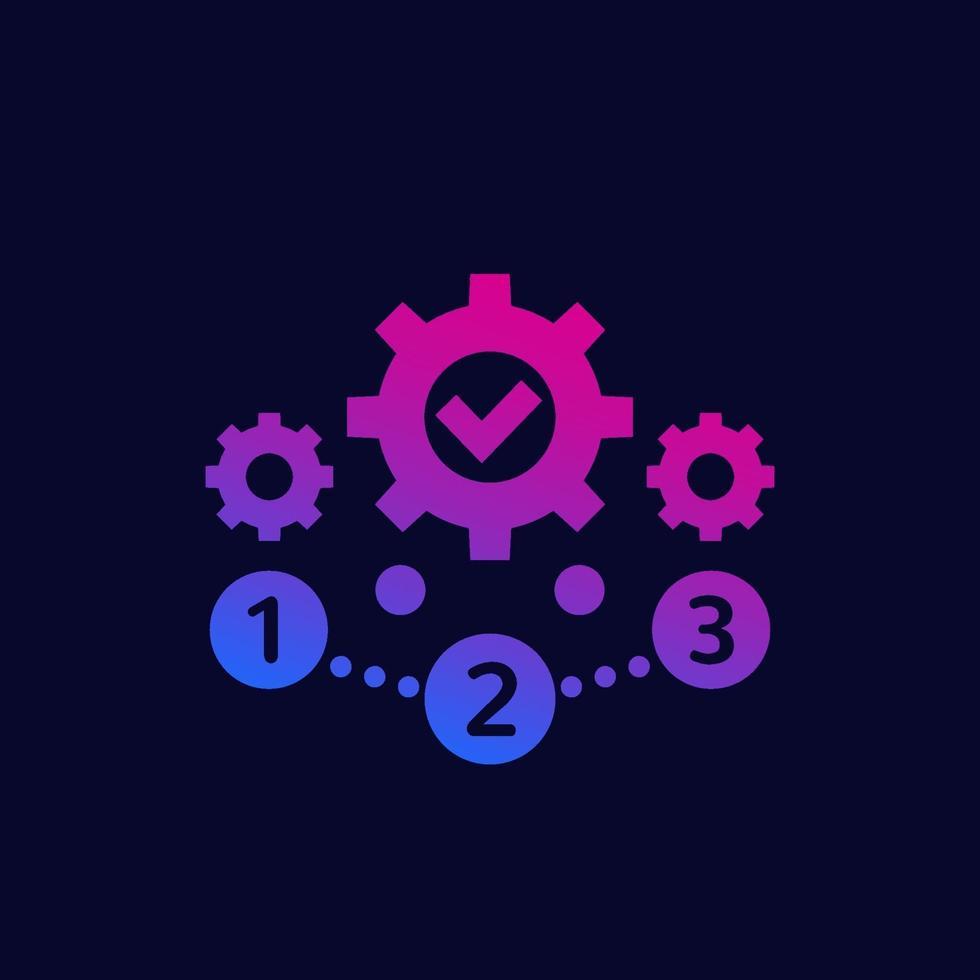 gerenciamento de projetos, ícone de 1, 2, 3 etapas, vector.eps vetor
