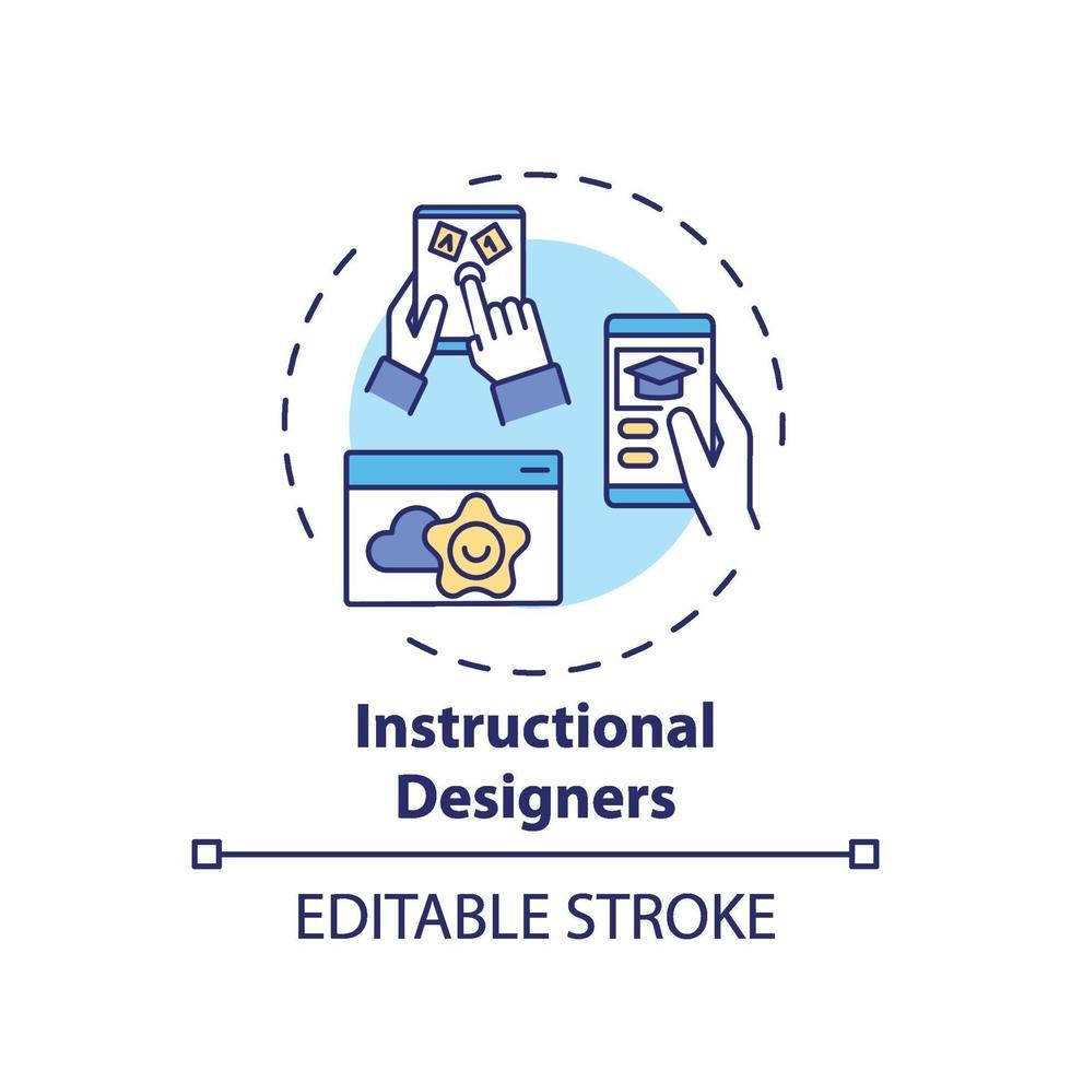 ícone do conceito de designers instrucionais vetor