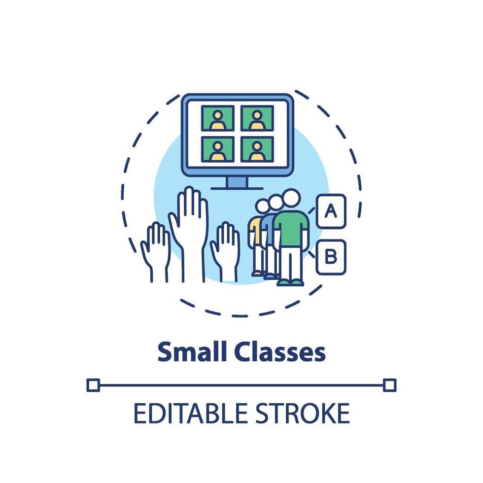 ícone do conceito de pequenas classes vetor
