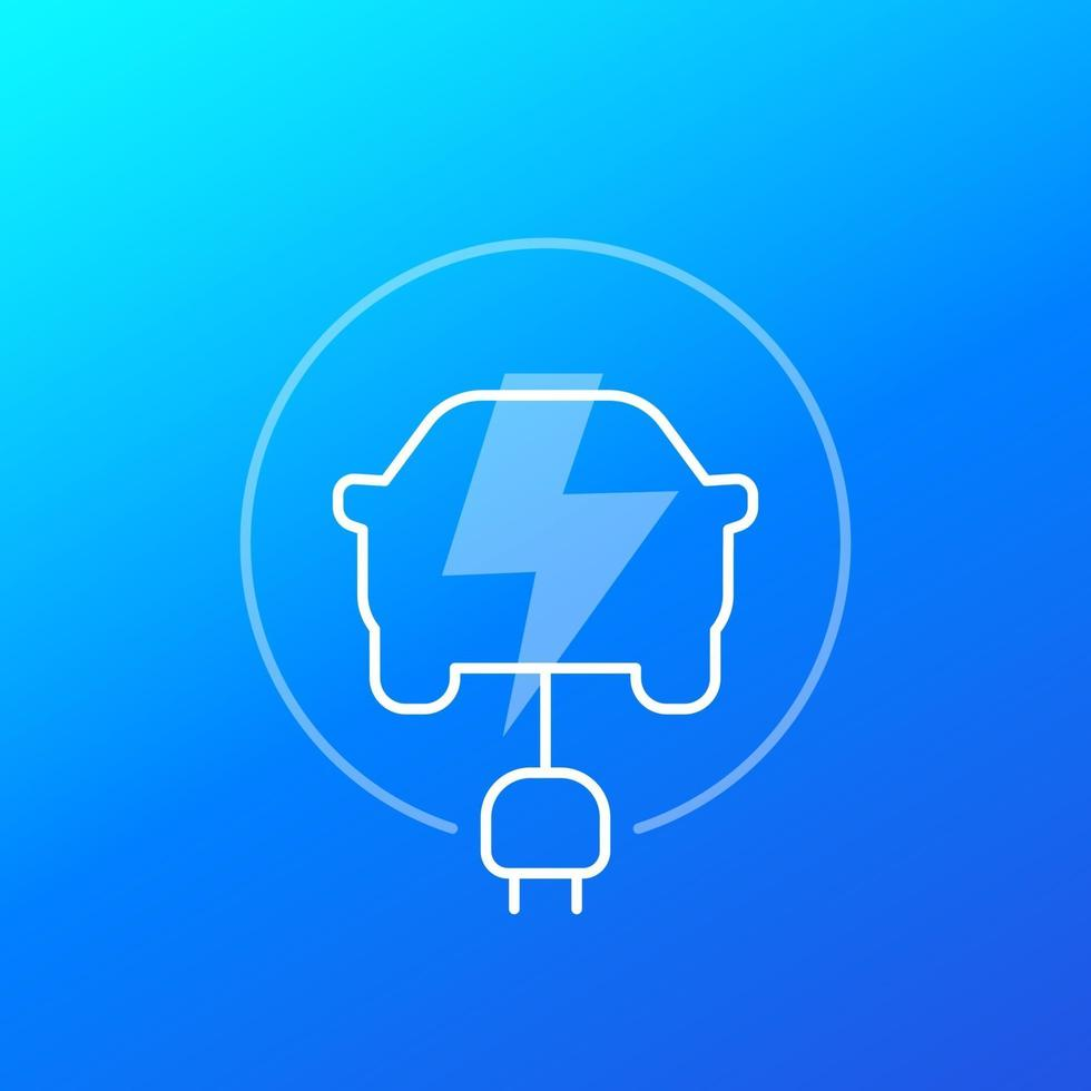 ícone de carro elétrico, linear design.eps vetor