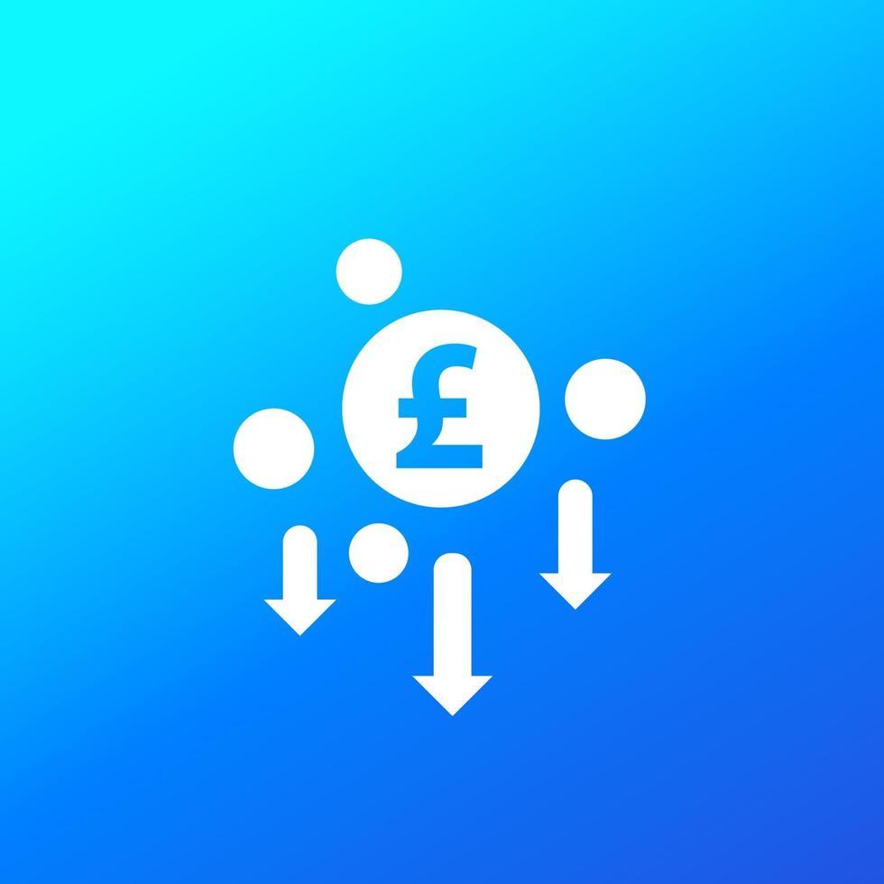 redução de custos, minimizando o ícone com libra, vector.eps vetor