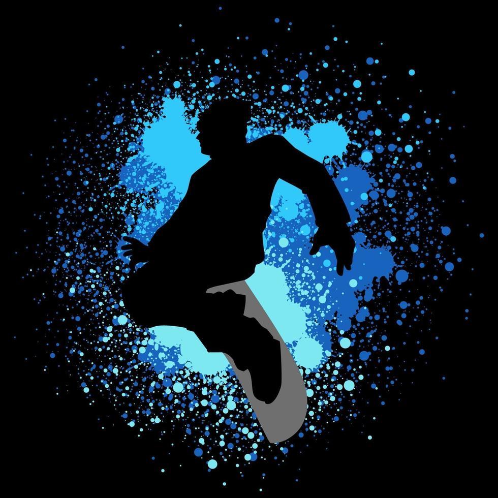 ilustração da silhueta de um snowboarder no fundo de respingos de tinta vetor