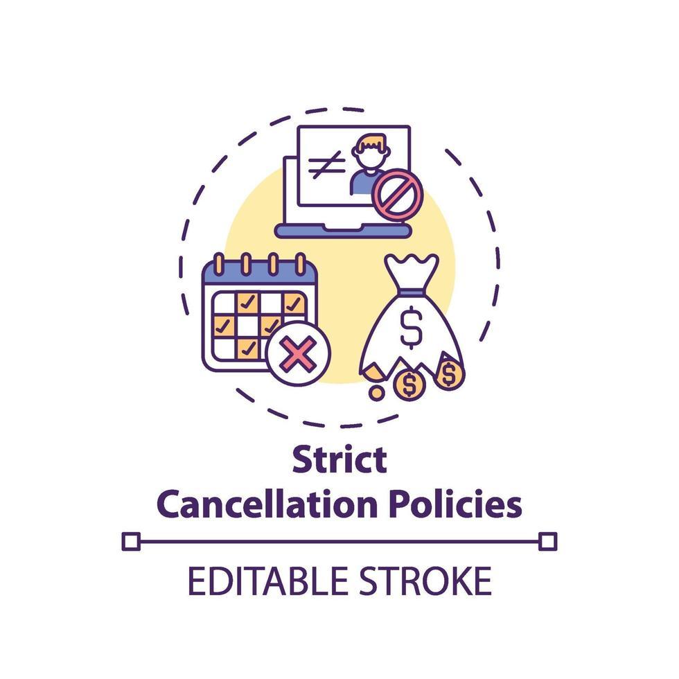 ícone do conceito de políticas de cancelamento estritas vetor