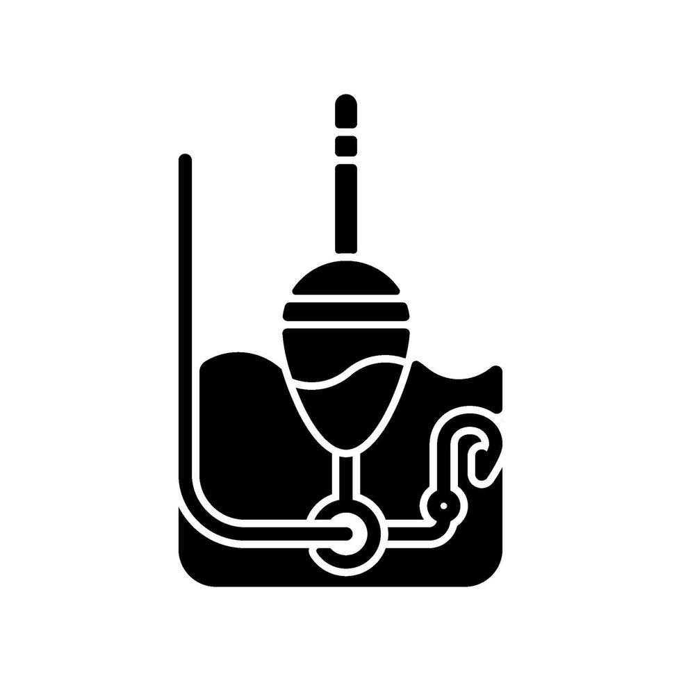 ícone de glifo preto flutuante vetor