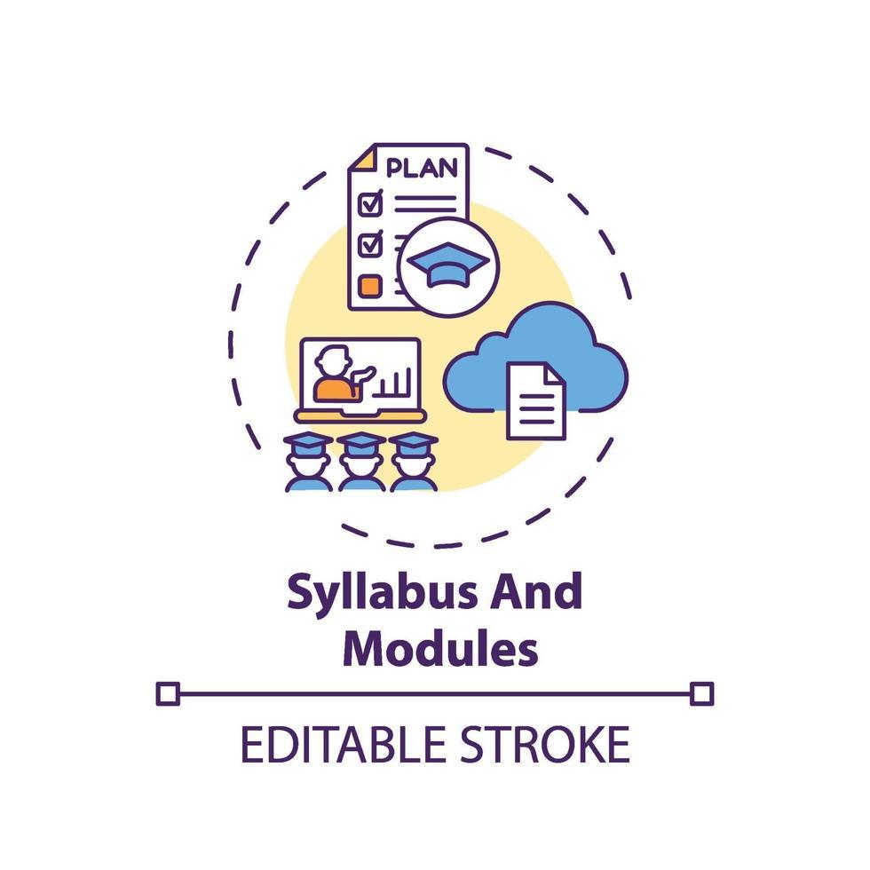 ícone do conceito de programa e módulos vetor