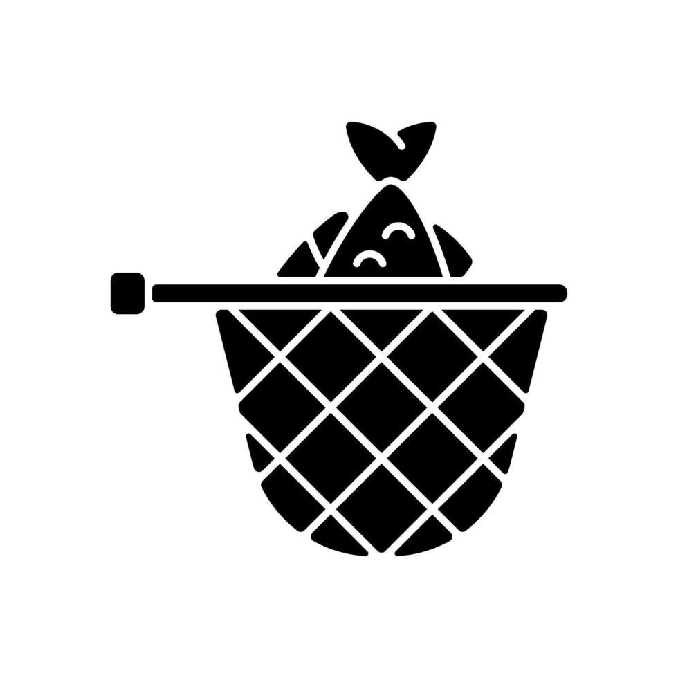ícone de glifo preto de rede de aterrissagem vetor