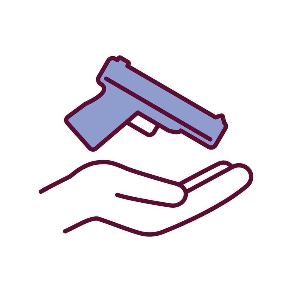 ícone de cor rgb de propriedade de arma vetor