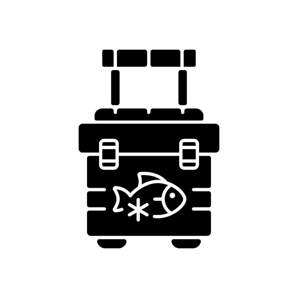 ícone de glifo preto refrigerador de pesca vetor