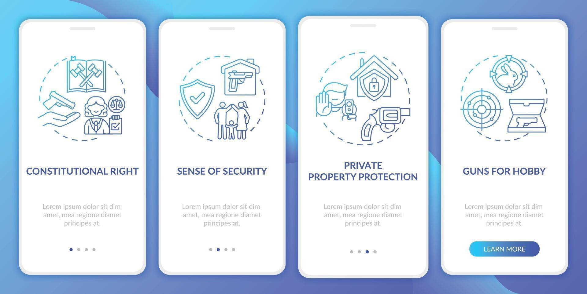 direito da arma azul escuro integração tela da página do aplicativo móvel com conceitos vetor