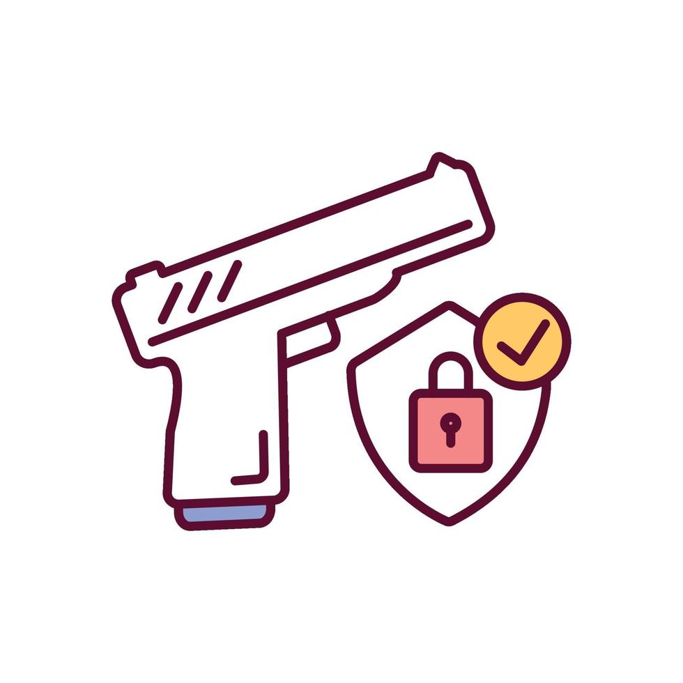 ícone de cor rgb de armazenamento seguro de arma vetor