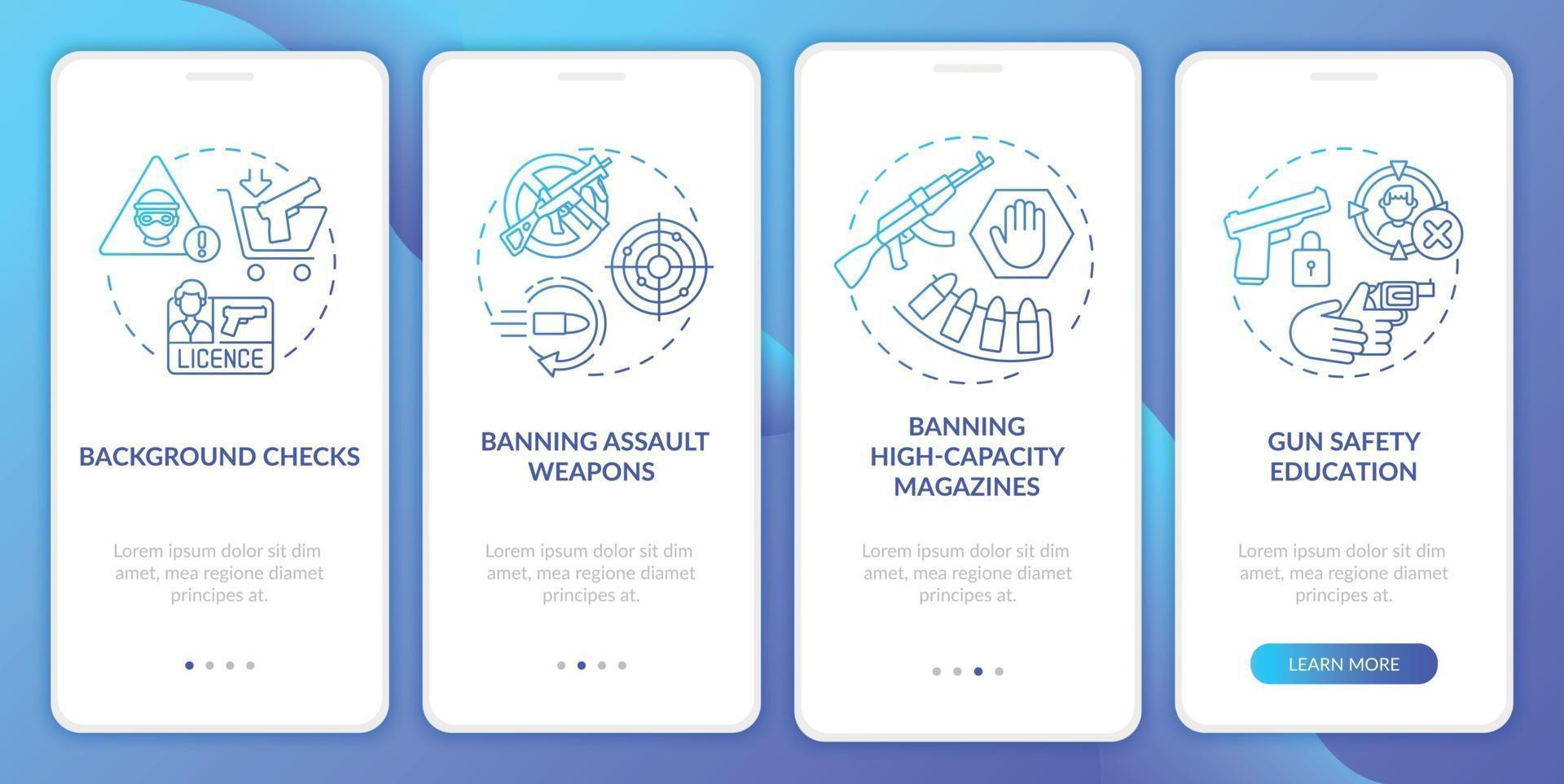 tela da página do aplicativo móvel de integração com as diretrizes de segurança de armas azul escuro com conceitos vetor