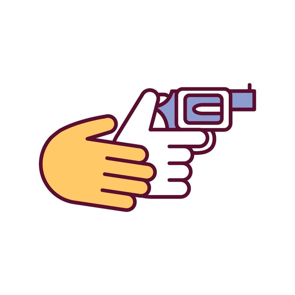 ícone de cor rgb de instruções de manuseio de armas vetor