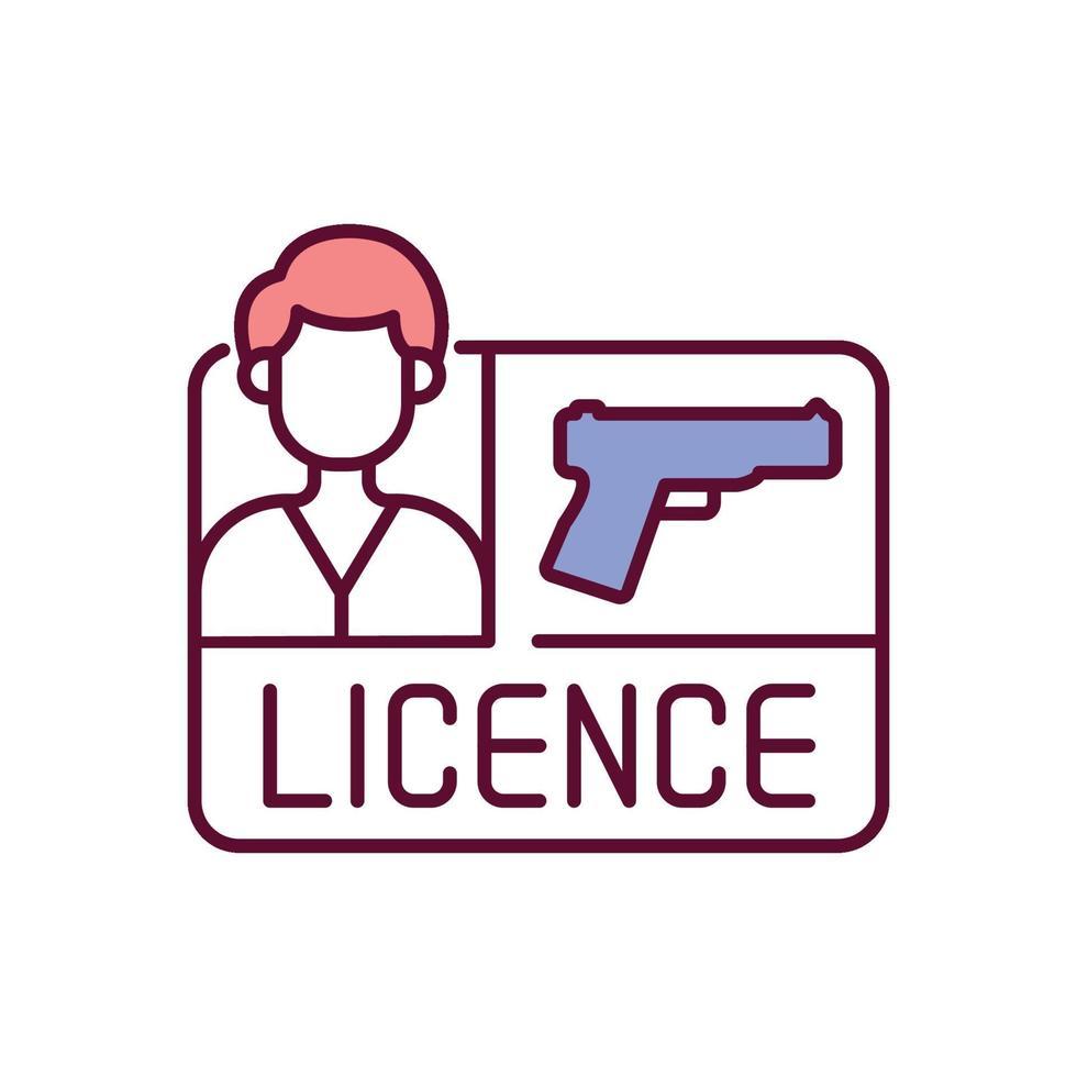 ícone de cor rgb de licença de arma vetor