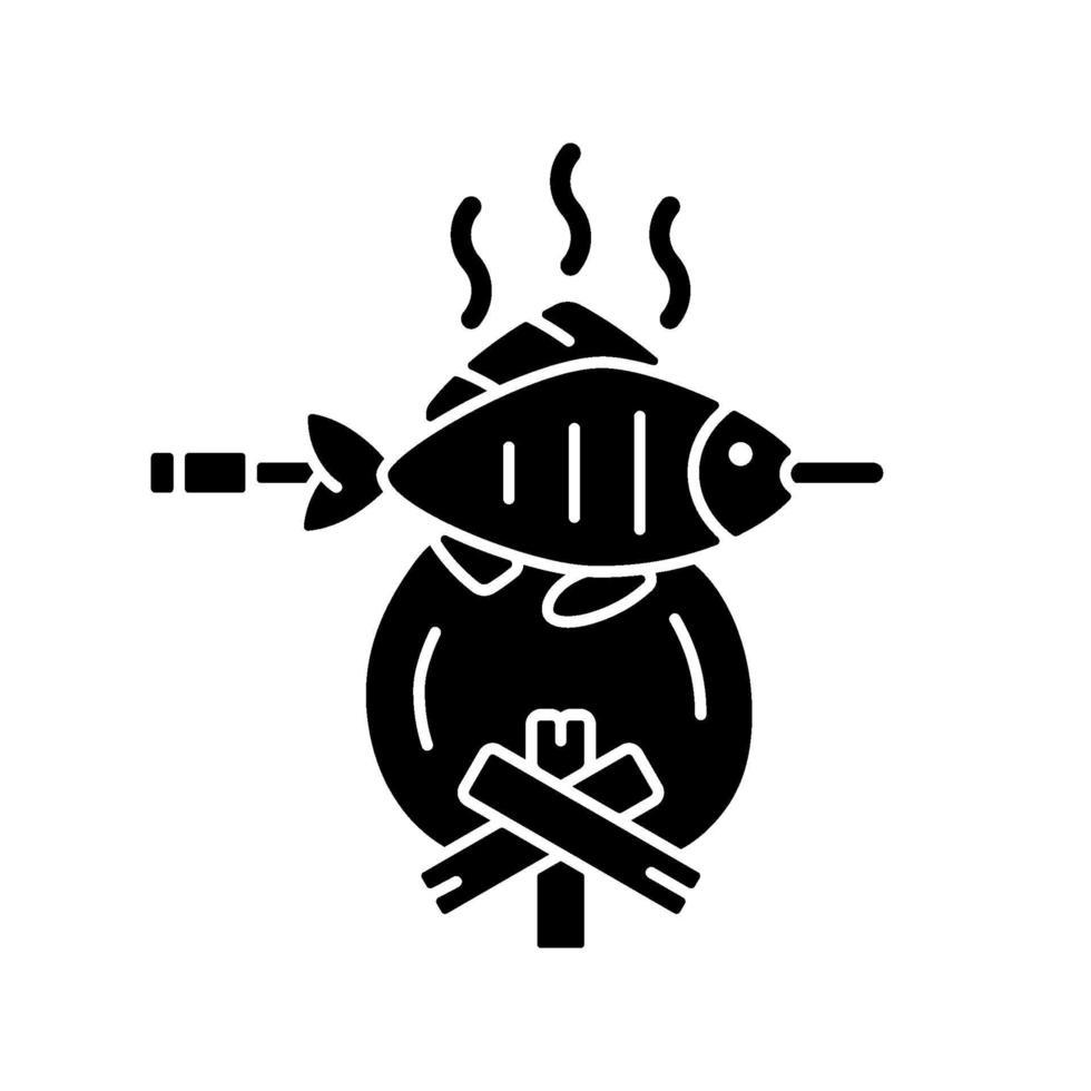 cozinhar peixe acabado de pescar ícone de glifo preto vetor