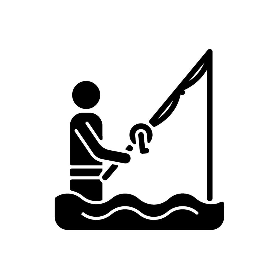 wade fishing black glyph icon vetor