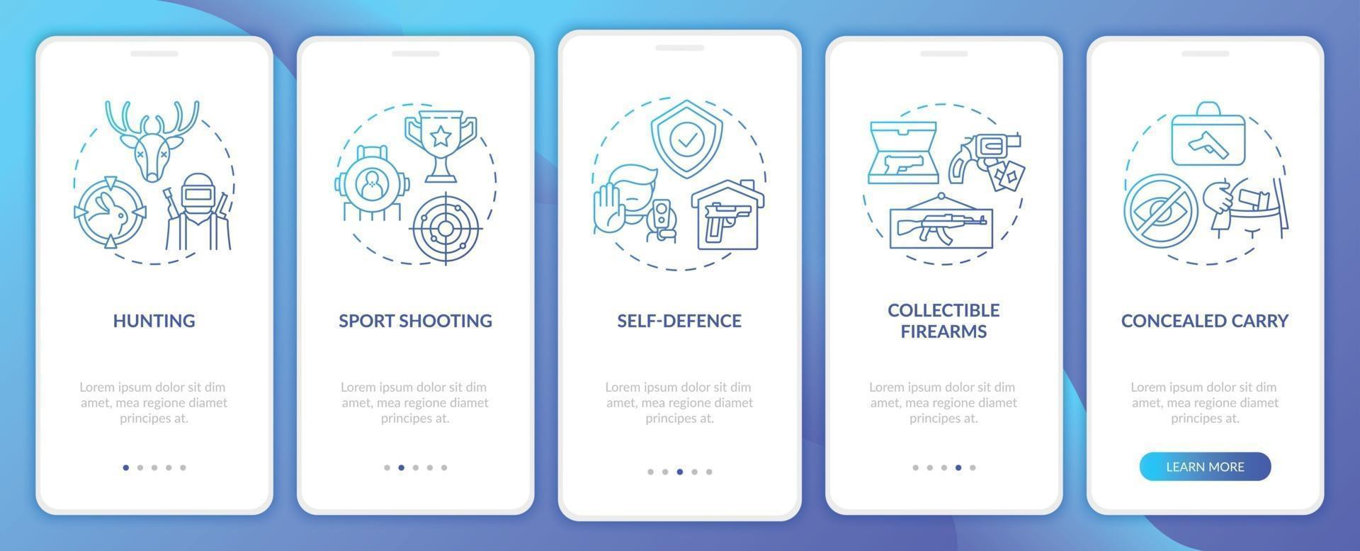 armas para passatempo azul escuro integração tela da página do aplicativo móvel com conceitos vetor