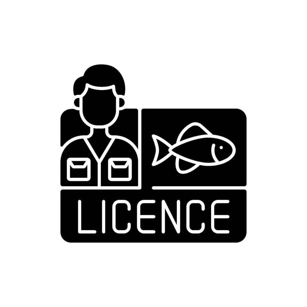 ícone de glifo preto de licença de pesca vetor
