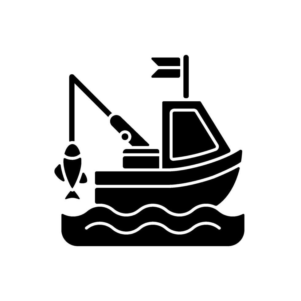 ícone de glifo preto de pesca de barco vetor