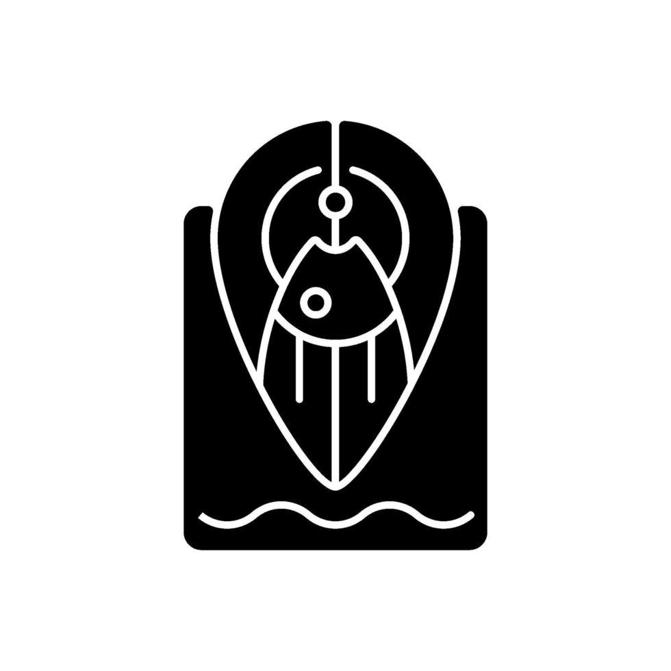 ícone de glifo preto de mancha de pesca vetor