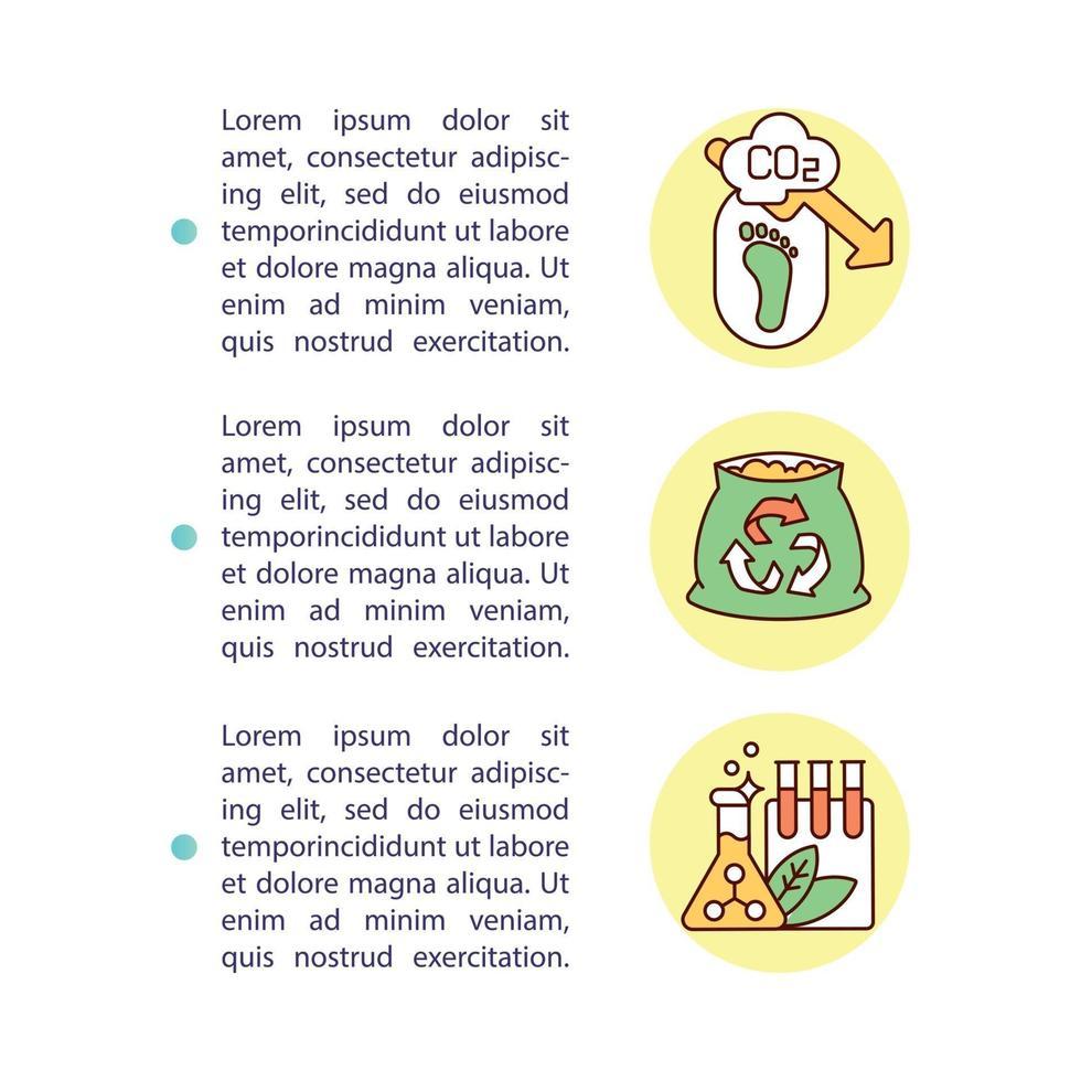 Ícone do conceito de benefícios de compostagem com texto vetor