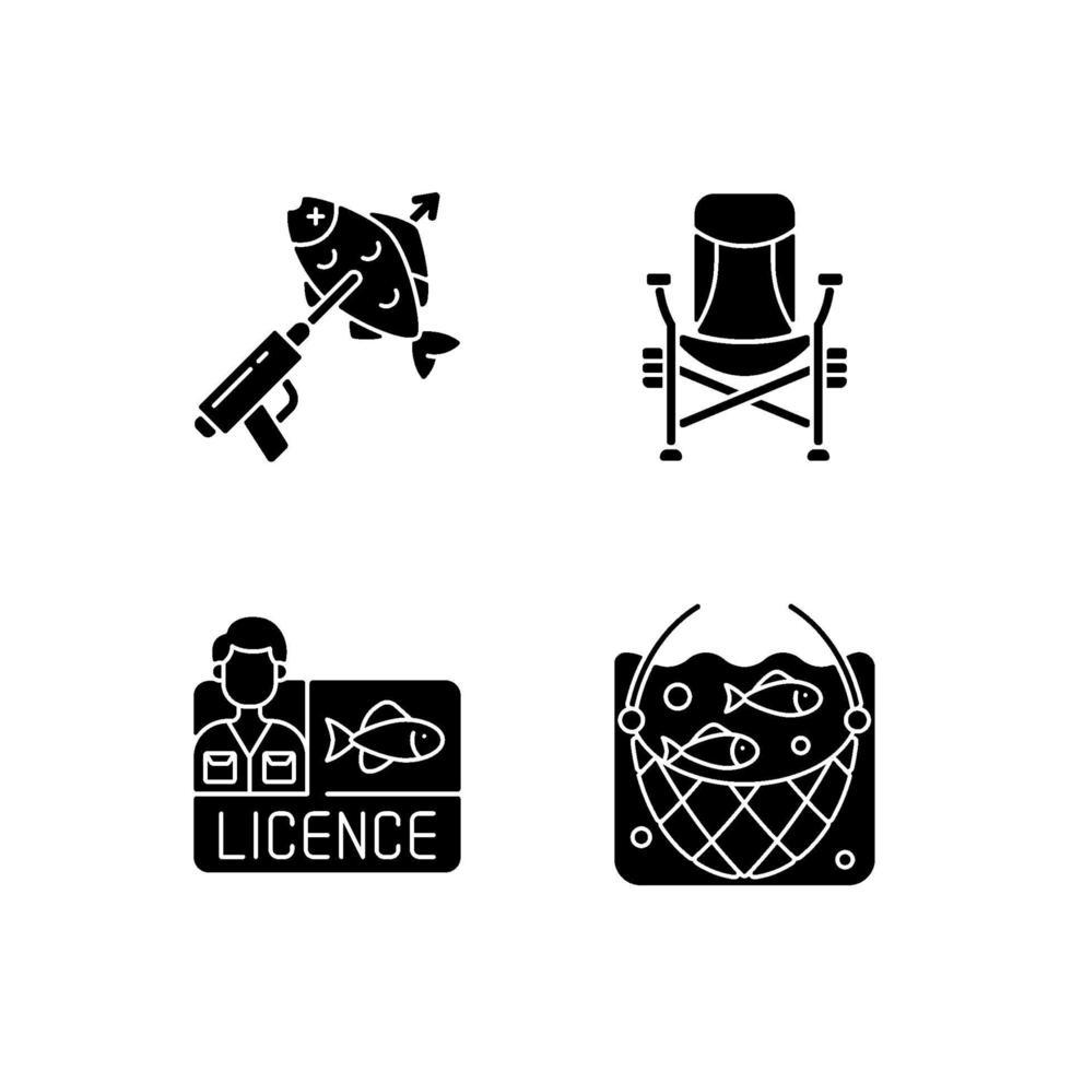 equipamento especial para pescar ícones de glifo preto definidos no espaço em branco vetor