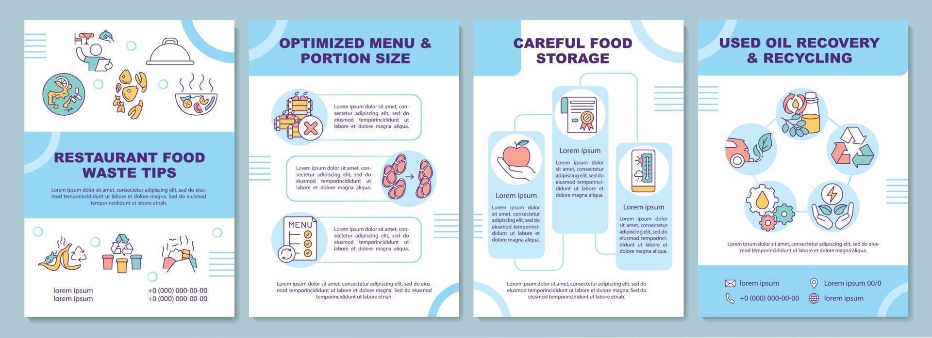 modelo de folheto de dicas sobre resíduos alimentares de restaurante vetor