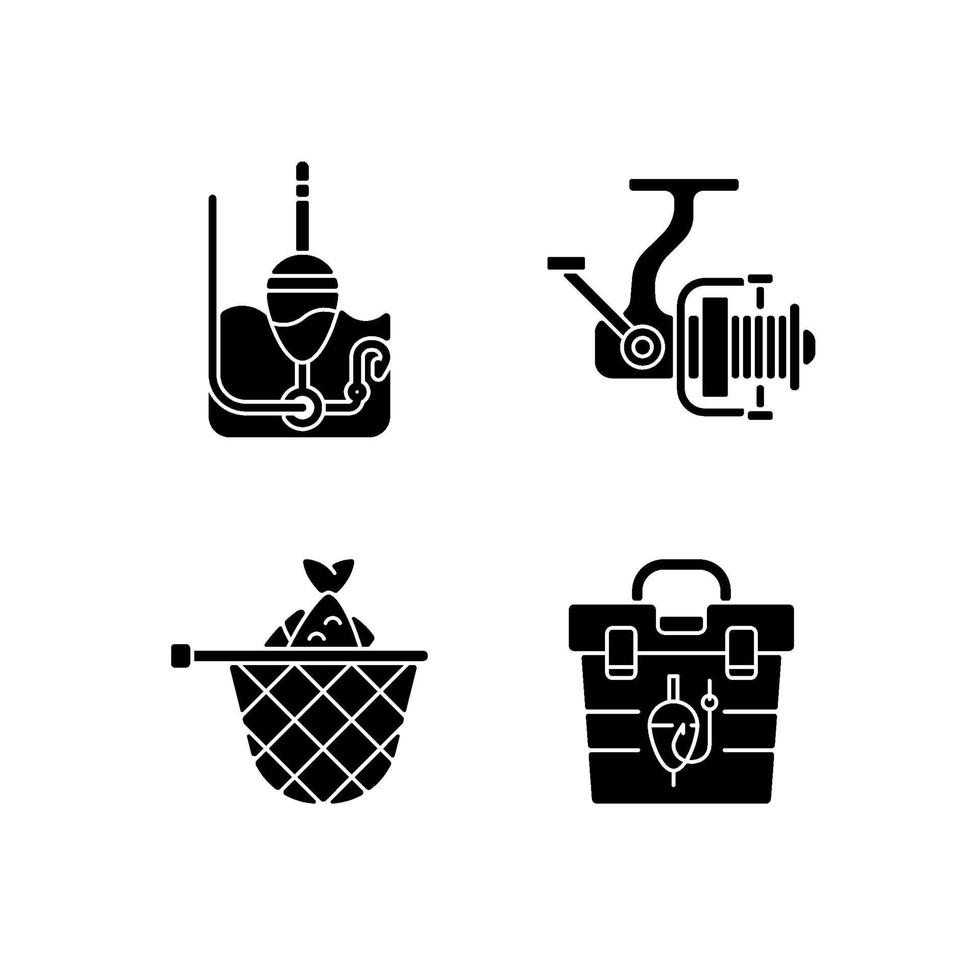 hobby e atividades de lazer ícones de glifo preto em espaço em branco vetor