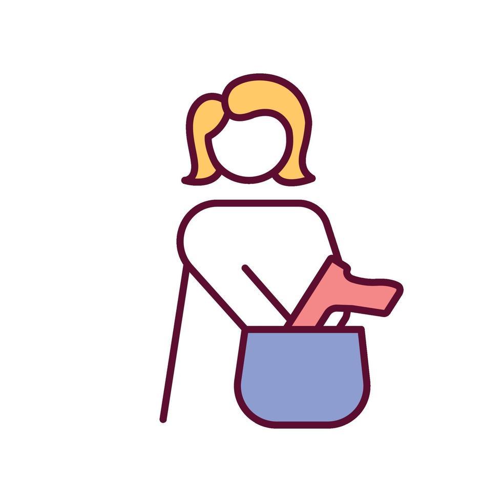 mulher colocando a arma na bolsa ícone de cor rgb vetor