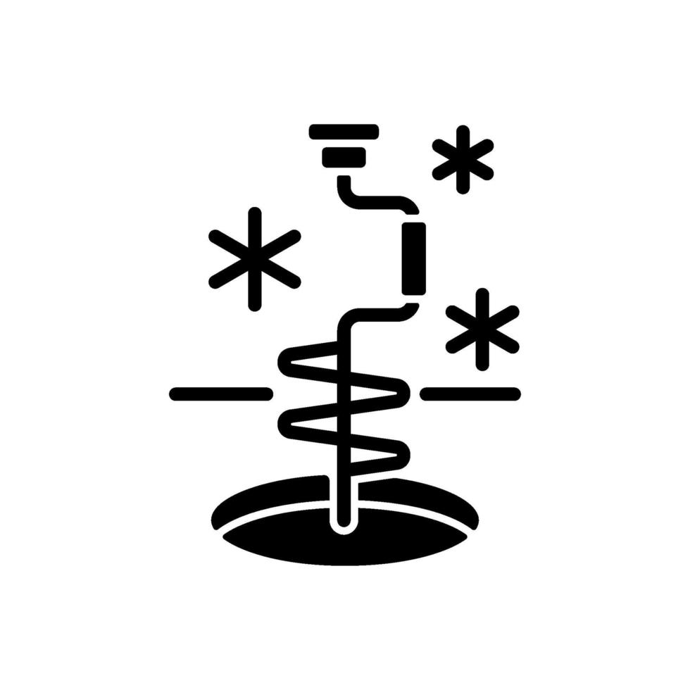 ícone de glifo preto de pesca no gelo vetor