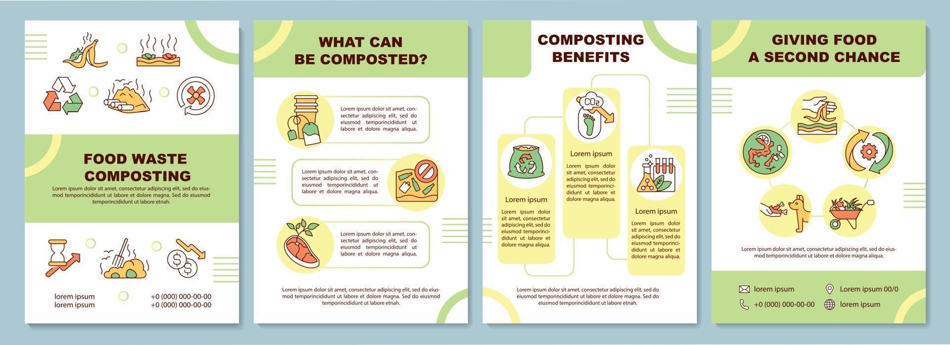 modelo de folheto de compostagem de resíduos de alimentos vetor