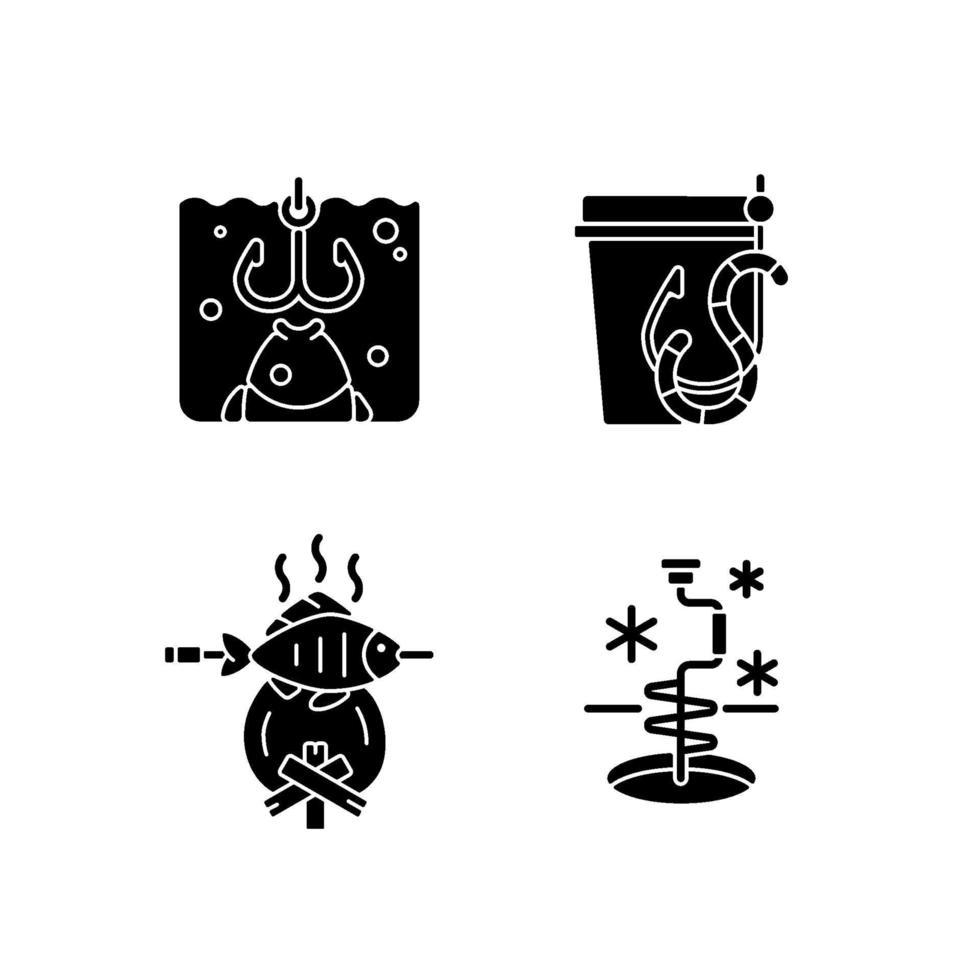 cozinhando peixes recém-pescados ícones de glifo preto definidos no espaço em branco vetor