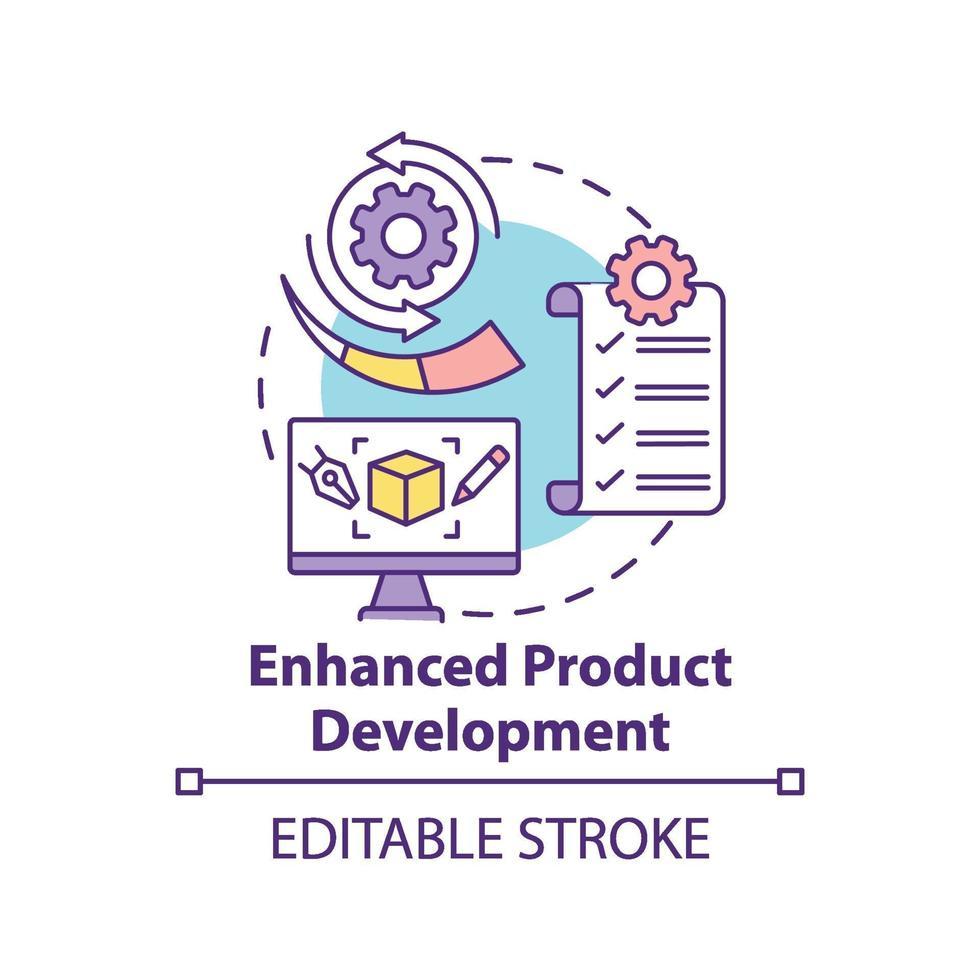 ícone de conceito de desenvolvimento de produto aprimorado vetor