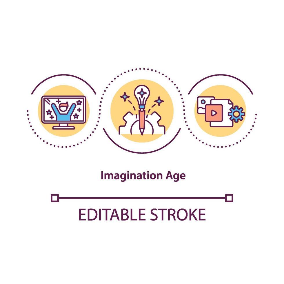 ícone do conceito de idade da imaginação vetor