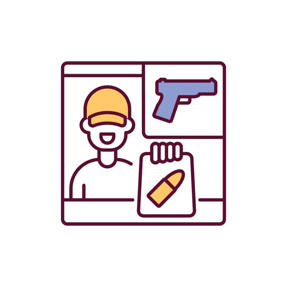 ícone de cor rgb do revendedor de armas vetor