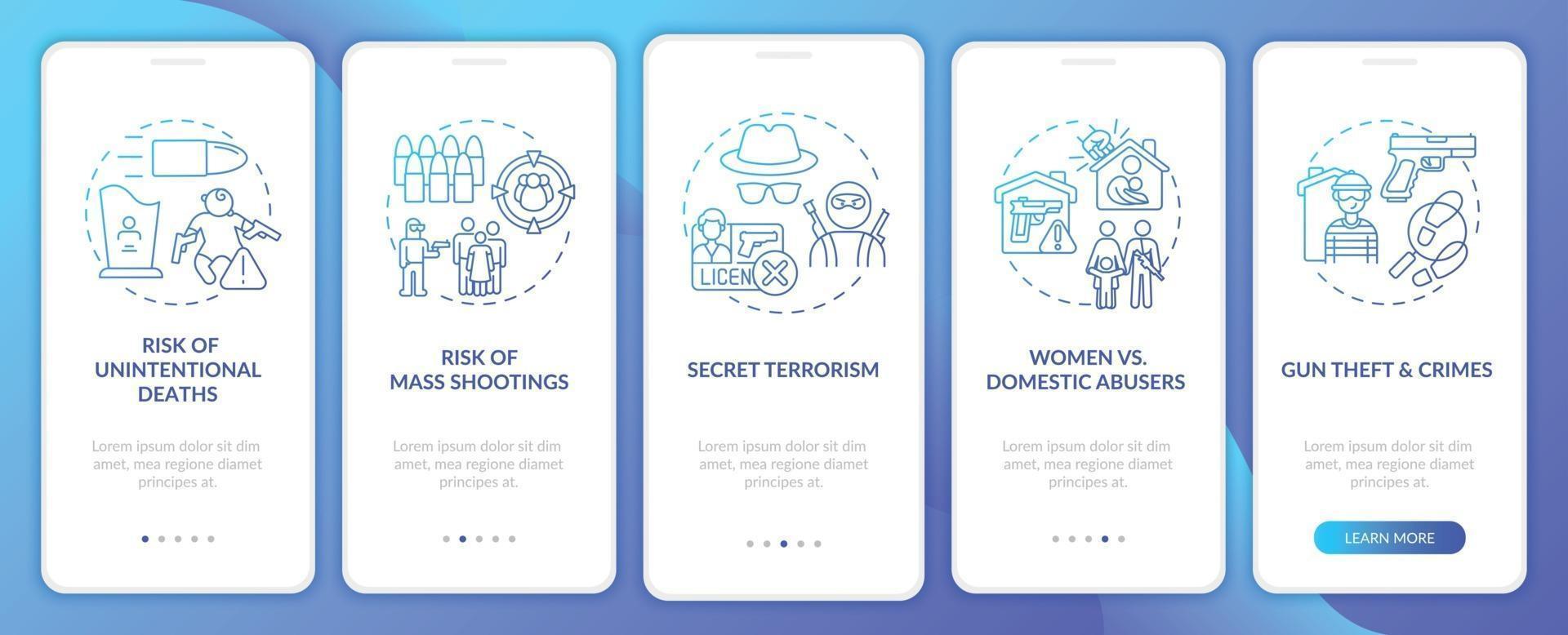 risco de filmar a tela da página do aplicativo móvel em azul escuro com conceitos vetor